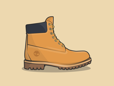 Timberland friendly fashion brown autumn shoes timberland designer sticker minimal flat vector ui illustrator illustration design bold outline