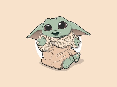 Baby Yoda cute friendly character minimal ui vector illustration bold outline designer design illustrator yoda baby yoda the child the mandalorian star wars