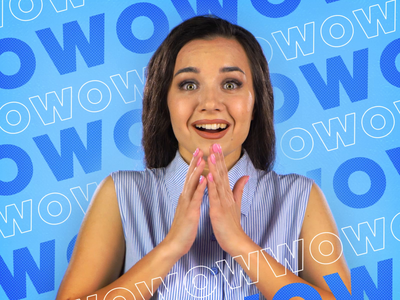 Commercial: Live action + text animatoin texture text outline letters blue advertising da wow woman happy girl people bank text animation commercial art liveaction commercial