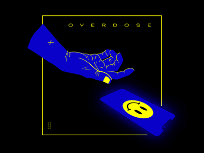 Overdose online concept social blue screen smartphone digital hand smile addiction overdose illustration