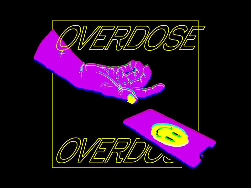 Overdose glitch effect glitch social smile smartphone screen overdose online illustration hand digital concept pink addiction