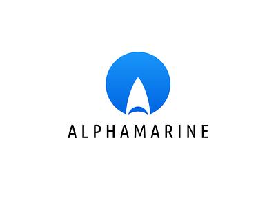 Alphamarine shape sail yacht shark icon mark sky blue round a letter alpha marine logo