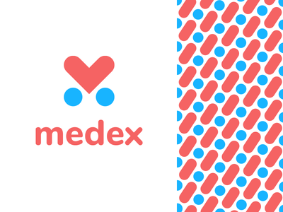 Medex pattern icon heart minimal friendly simple clean m letter logo