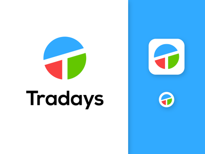Tradays icon chart economic business minimalist flat simple clean segment circle chart pie chart t letter logo