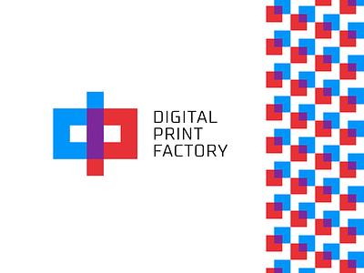 Digital Print Factory square geometry pixel pixels simple bold clean logo