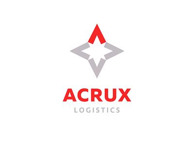 Acrux Logistics minimalist geometric simple clean sign mark icon a compass red logotype arrow arrows letter cross star logistics logo