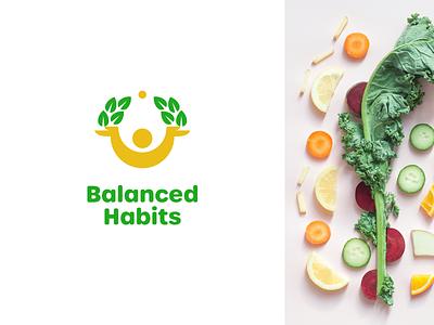 Balanced Habits growth life design balance man food health happy joyful logo
