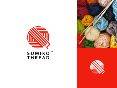 Sumiko Thread letter thread lines japan sun red round s clean icon simple logo