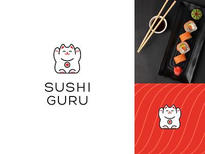 Sushi Guru fun japan japanese guru sushi happy joyful cute cat maneki-neko vector design clean simple logo