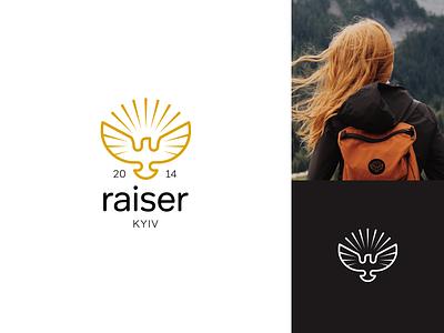 Raiser high power sun rays bird falcon hawk eagle hipster lines vector clean simple badge design logo