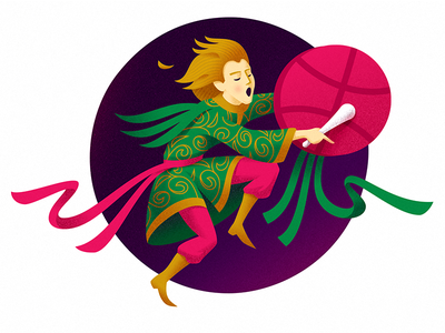 Hi Dribbble! medicine man illustration circle music drum tambourine character dance shaman dribbble hello hi