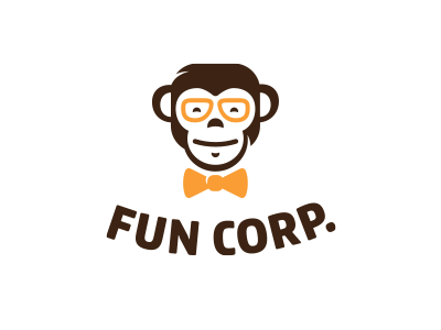 Fun Corp. game smile face knot bow glasses hipster logo cute fun monkey