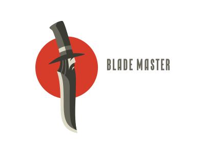 Blade Master beaver high profile angry hat beardman face sharp man knife blade logo