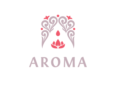 Aroma aroma extract nature essence feminine lotus drop flower a letter a logo