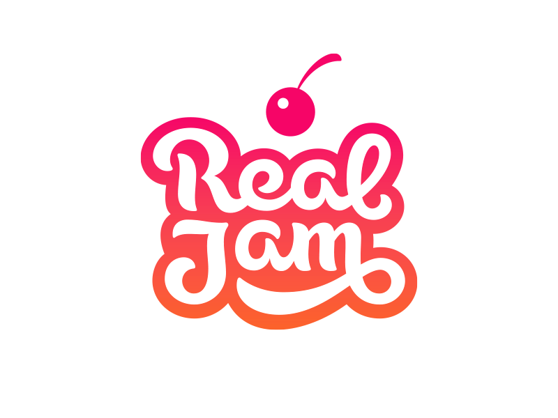 Real Jam pastry bakery patisserie cake dainty jam sweet confectionery tasty cherry lettering logo