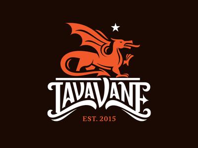 Lava Vane wind wing figure illustration red typography font vane dragon star lettering logo