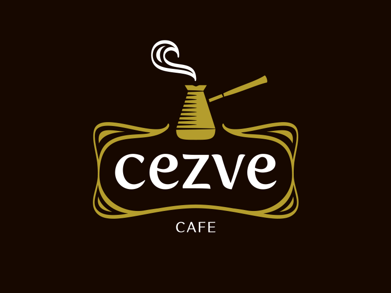Cezve warm flowing smooth coffee house cezve coffee cafe logo