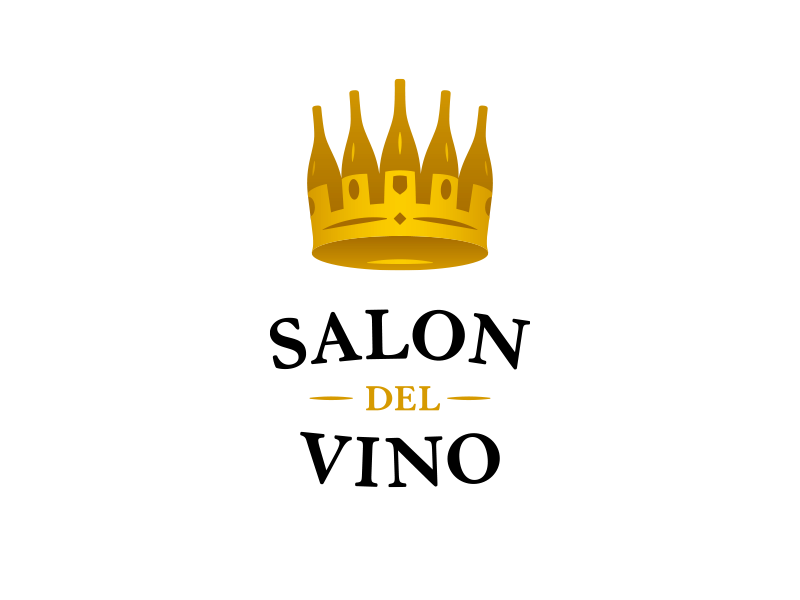 Salon del Vino salon luxury gold royal crown bottle wine bottle vino wine logo