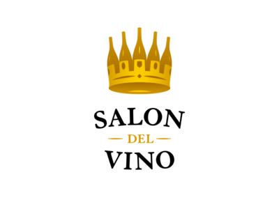 Salon del Vino salon luxury gold royal crown bottle wine bottle vino wine logo