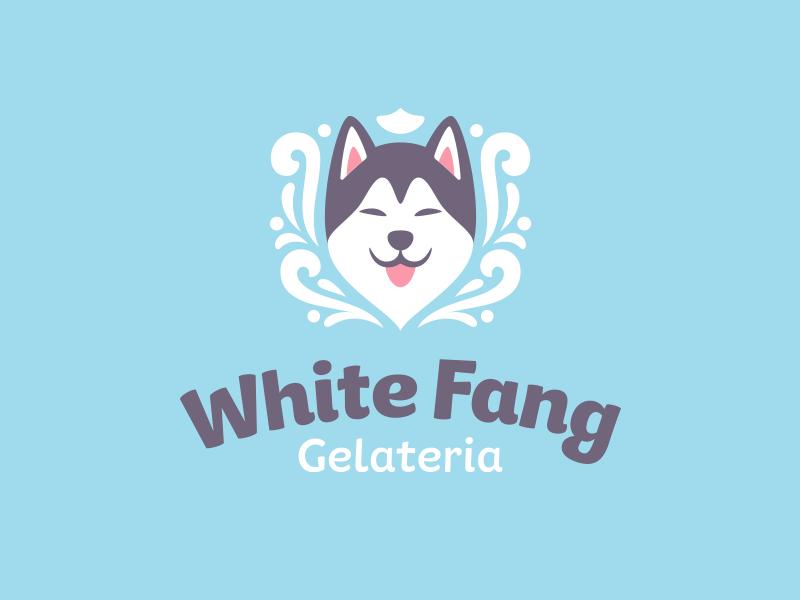 White Fang winter wild snow malamute logo ice cream husky happy face dog cute animal