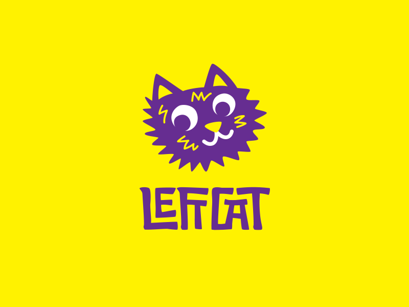 Left Cat hippy hippie music trance electro lettering cat hand-drawn fuzzy fun funny cute psy logo