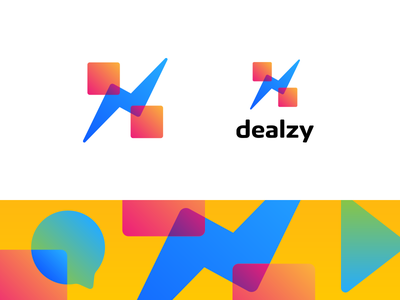 Dealzy facebook lightning youth slash percent modern messenger logo gradient discount deal chatbot