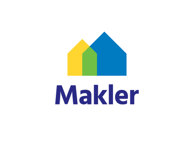 Makler clean simple buildings real estate houses arrows letter m m letter logo makler