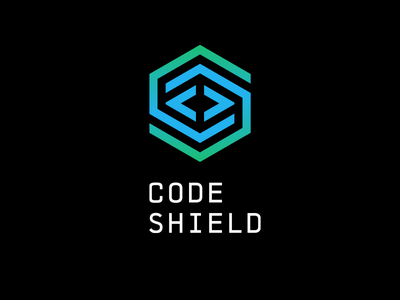 Code Shield cyber hexagon smart tech programming security maze shield shell s c letter code brackets logo