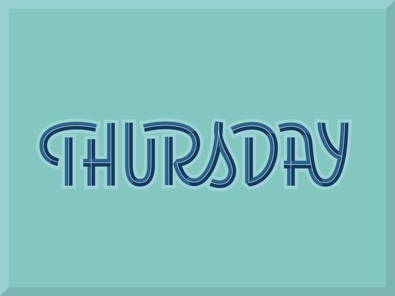 Thursday logo script hand lettering vector logotype simple monoline script monoline illustration typography lettering thursday