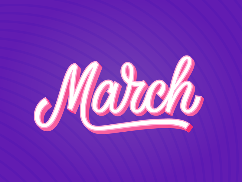 March hand lettering vector typography script lettering