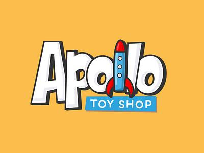 Apollo apollo fun kids branding logotype toy lettering rocket toy shop toys