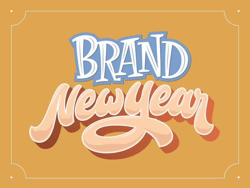Brand New Year orange retro vector design typography script serif variation lettering