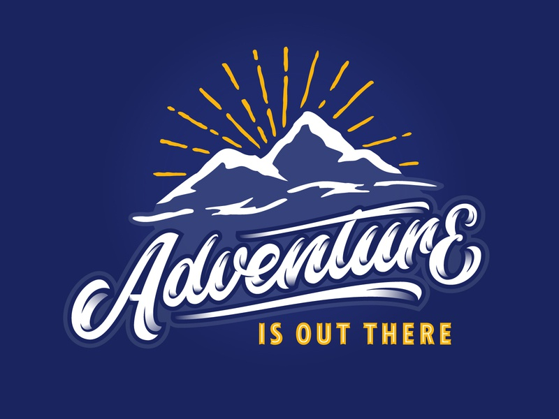 Adventure Is Out There illustration hand lettering cool nature vector shading adventure mountain typography script lettering