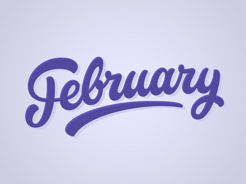 February hand lettering cool illustration design vector logotype typography script lettering