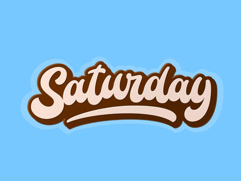 Saturday graffiti hand lettering illustration vector design logotype typography dancing letters fat script script lettering saturday