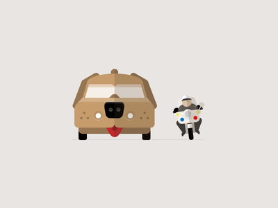 Pull over! illustration simple flat car motorcycle dumb and dumber pull over vector