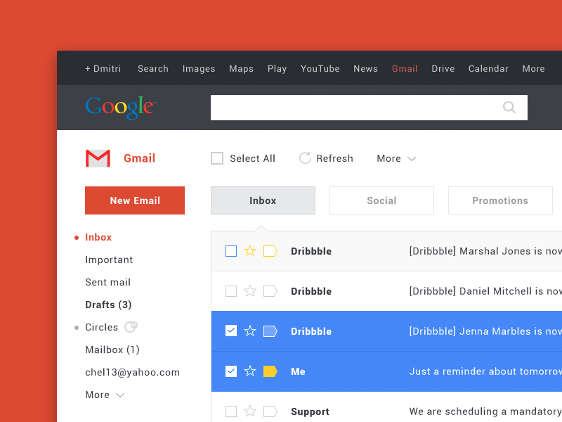 Gmail Redesign results interface ui gmail redesign email flat simple web app chat google website