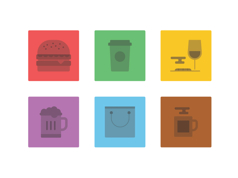 Food Icons food icons burger coffee shop mug glass wine beer bag shopping