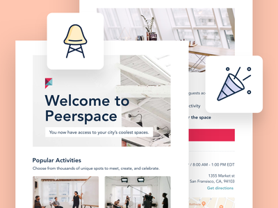 Peerspace | Email Templates email campaign newsletter email marketing communication email design email template ux ui icons illustrations peerspace email template