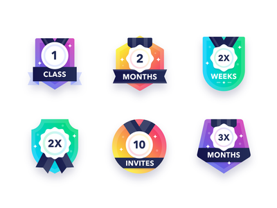 Fitness Badges awards medals workout illustrator icon set illustrations iconography gradient ux ios ui badges designer badges fitness