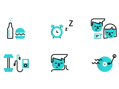 10 Steps line gradient icons iconset record burger beer ipod weights popcorn sun alarm couch