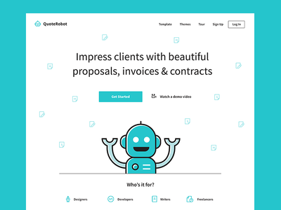 QuoteRobot Landing Page user experience ui design landing page design fintech branding freelance designer designer landingpage quoterobot robot invoice quote