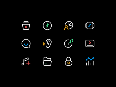 Music Dashboard Icons dashboard ux ui listen data private lock song shuffle play notes iconography icon designer icon set icons music