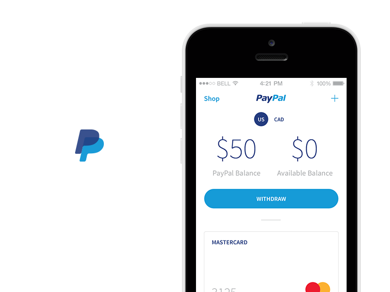 Paypal Redesign ui design user interface app redesign payment ios paypal redesign mobile credit card account app withdraw