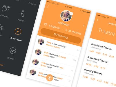 fliiicks screens ui design app icons movie app fliiick profile filter theatre time avatar following icons movies