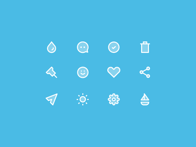 Some Icons drop comment check delete pin smiley heart share send sun settings boat