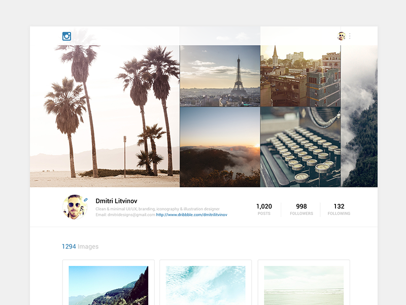 Instagram Redesign Web instagram redesign web app profile edit images header