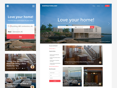 Contractors.com Landing Page web landing page design minimal ui user interface minimal landing page contractors layout search header ui clean