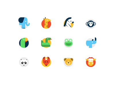 Animal Icons cow icon snake icon bear icon fox icon racoon icon zebra icon elephant icon animal icons flat icons icon set icons simple