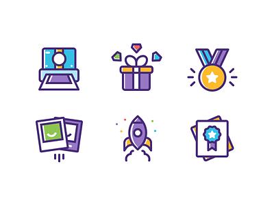 Illustrations digital illustrations illustrator app designer app illustrations certification rocket polaroid present medal camera photo